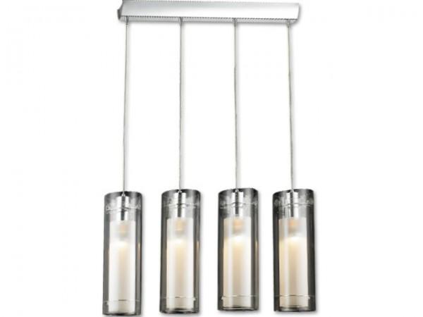 Eettafellamp Zilver met Melk Glas Plafoniere Dijon